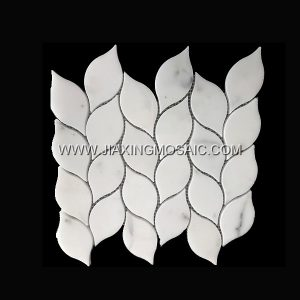 Leaf Design Calacatta White Polished Marble Mosaic Tile