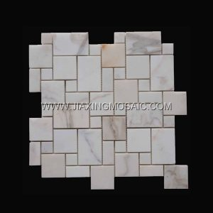 French patterns Mosaic Calacatta Gold Marble Polished Mosaic tiles