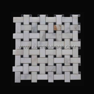 Art patterns Mosaic Calacatta Gold Marble Polished 1x2inch Basketwave Mosaic tiles