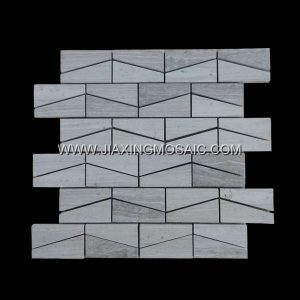 Ladder-Shaped Wooden White Marble Mosaic Tile