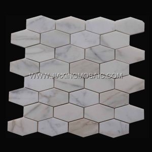 Calacatta White Polished Marble Long Hexagon Marble Mosaic Tiles
