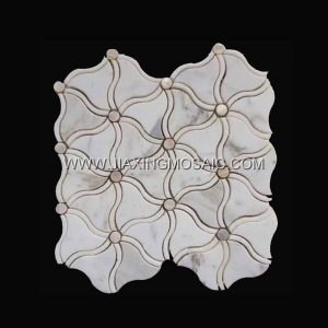 Calacatta Gold Marble Polished Flower Shape Marble Mosaic Waterjet Mosaic