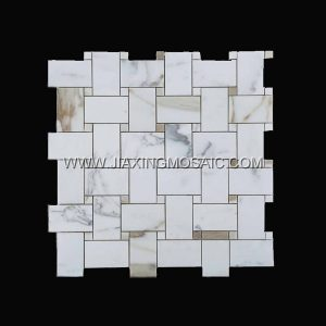 Art patterns Mosaic Calacatta Gold Marble Polished Basketwave Mosaic tiles