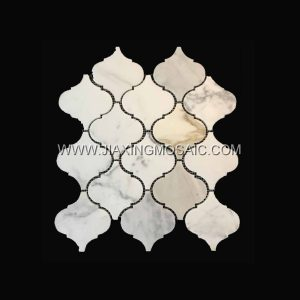 Calacatta Gold Polished Marble Arabasque/Lantern Marble Mosaic Tiles