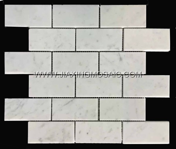 "Carrara White Polished Marble Mosaic 2 x 4 "" Brick Marble Mosaic Tile"
