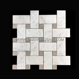 Basketweave Carrara White Cinderella Grey Polished Marble Mosaic Tile