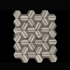 Wooden White Triangle Athens Wood Polished Marble Mosaic Tile