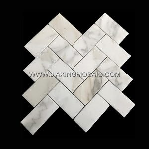 Herringstone Oblong Calacatta Gold Polished Marble Mosaic Tile