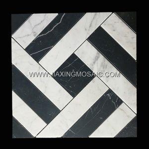 Carrara White Nero Margiua Square Polished Marble Mosaic Tile
