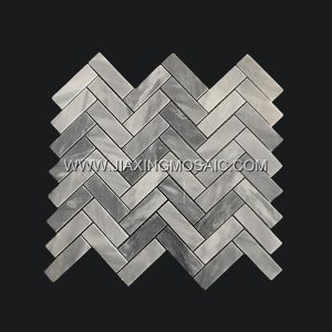 Carrara Grey Polished Marble Herringbone Design Marble Mosaic Tiles