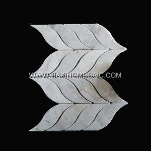 Leaves Carrara White Polished Marble Mosaic Tile
