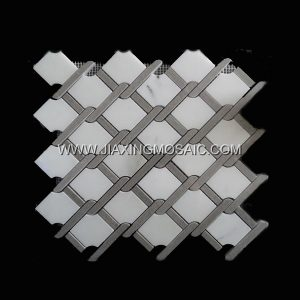 Diamond White Jade Cinderella Polished Marble Mosaic Tile