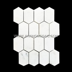 Eastern White Elongated Hexagon Polished Marble Mosaic Tile