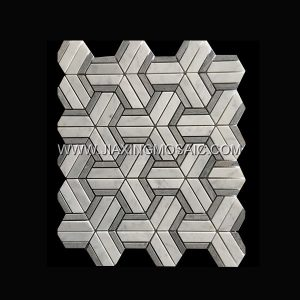 Carrara White Triangle Blue Wood Polished Marble Mosaic Tile