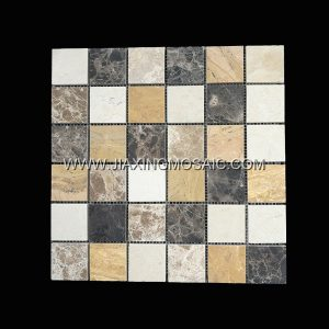 Square Crema Marfil Emperador Brass Yellow Polished Marble Mosaic Tile
