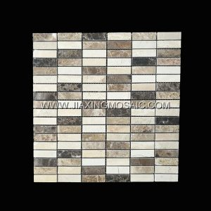 Strips Cream Marfil Dark Emperador Light Emperador Polished Marble Mosaic Tile