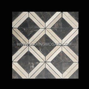Crema Marfil Dark Emperador Square Polished Marble Mosaic Tile