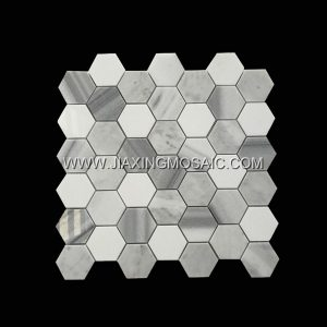 Hexagon Carrara Thassos and Marmala White Marble Mosaic Tile