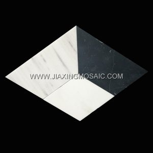 Nero Margiua Thassos White Grey Wolf Polished Marble Mosaic Tile