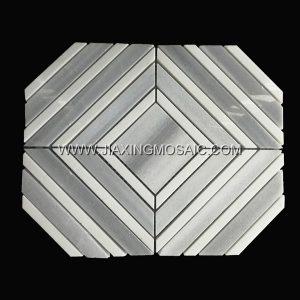 Marmala White Thassos White Trapezoidal Polished Marble Mosaic Tile