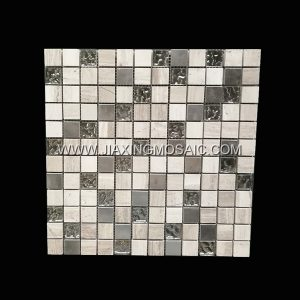 Square Wooden Stainless Steel Glass Tile