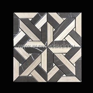 Wooden White Bulgaria Grey Square Polished Marble Mosaic Tile