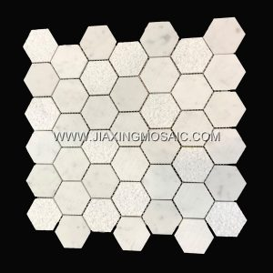 Hexagon Carrara White Marble Mosaic Tile