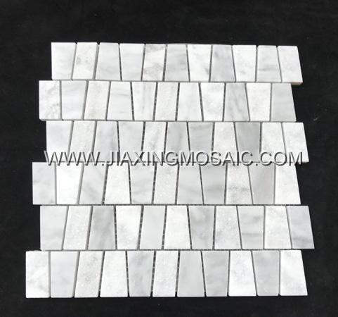 Trapezoidal Carrara White Marble Mosaic Tile