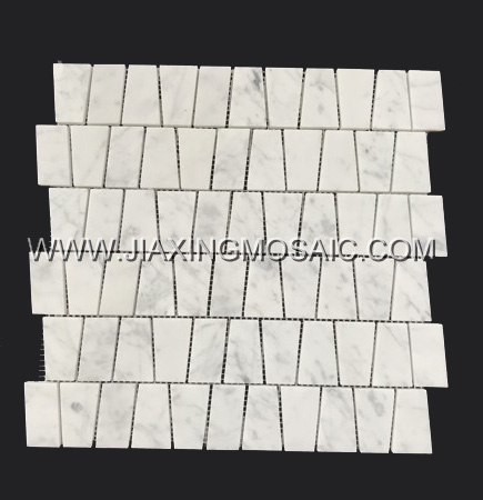Trapezoidal Carrara White Honed Marble Mosaic Tile