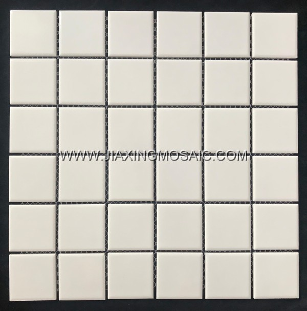 White color square porcelain mosaic tile