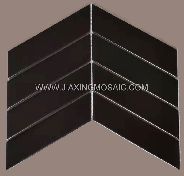 Black chevron porcelain mosaic tile