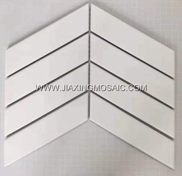 White chevron porcelain mosaic tile