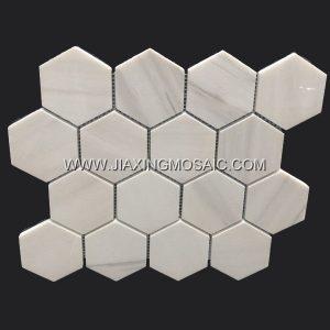 Hexagon Star White Marble Mosaic Tile
