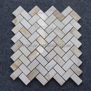 Oriental Jade Polished Herringbone Mosaic Tile
