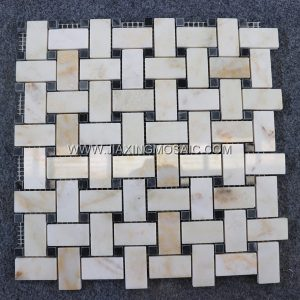 Oriental Jade Marble Polished Basketwave Mosaic Tile