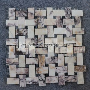 Violet Marble Polished Basketwave Mosaic Tile