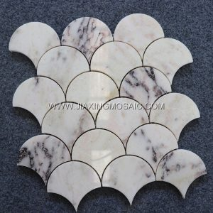 Fan shaped mosaic tile bathroom flooring tiles Violet Marble