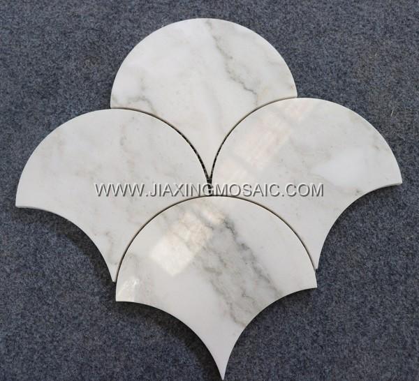 Fan shaped mosaic tile bathroom flooring tiles Oriental Jade Marble