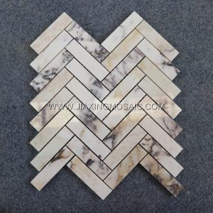 Violet Marble Polished Herringbone Mosaic Tile