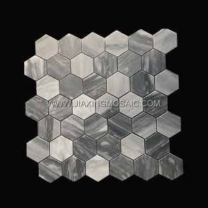 Hexagon Carrara Grey Polished Marble Mosaic