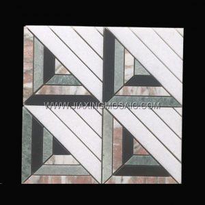Crystal White Marble Rosa Norvegia Marble Square Mosaic Tile