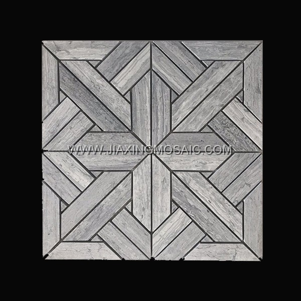 Wooden Grey Polished Marble Mosaic 6
