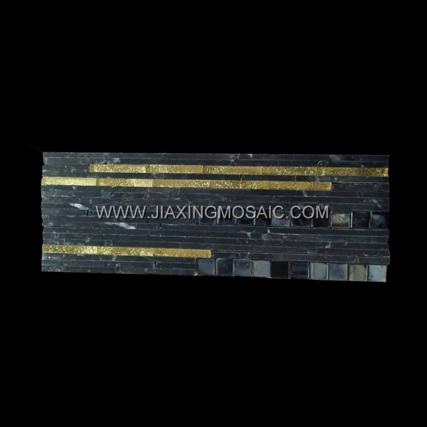 Nero Marquina Mixed Gold Glass Mosaic Tile