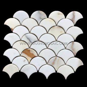 Fan shaped mosaic tile bathroom flooring tiles Calacattaa Gold Marble