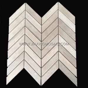 Wooden White Marble Chevron Mosaic