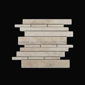 Strips Crema Marfil Polished Marble Mosaic Tile