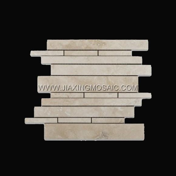 Strips Crema Marfil Polished Marble Mosaic Tile
