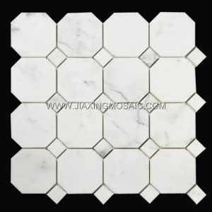 Calacatta White Octagon Design Polished Marble Mosaic Tiles