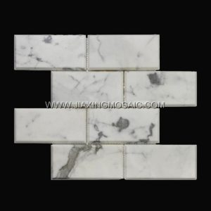 Calacatta White Brick Shape Polished Marble Mosaic Tiles