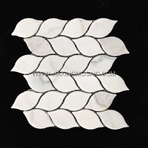 Leaf Design Calacatta Gold Polished Marble Mosaic Tile Backsplash